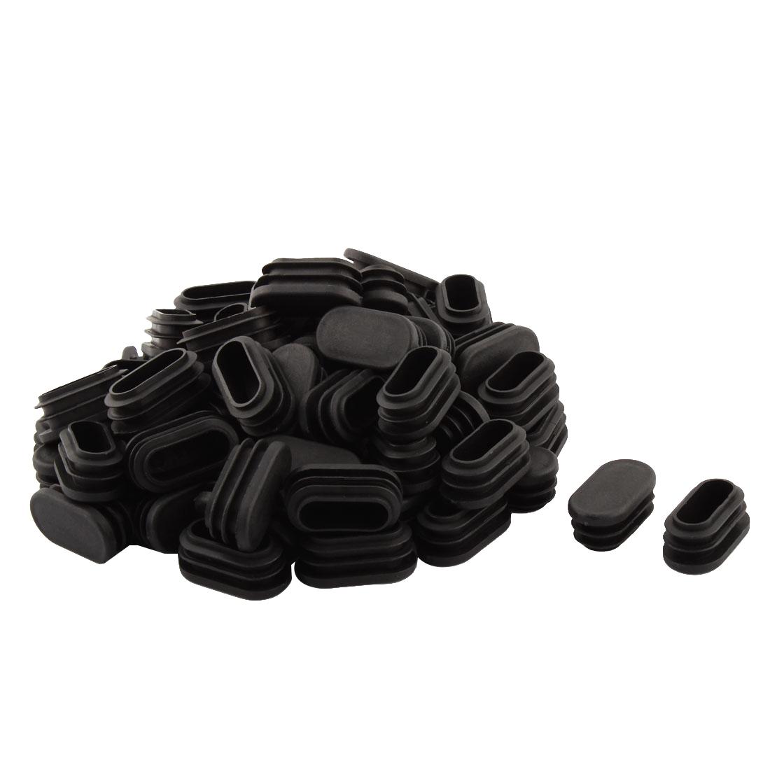 Household Plastic Rectangular Shaped Chair Leg Tube Insert Black 4 x 2cm 70 PCS