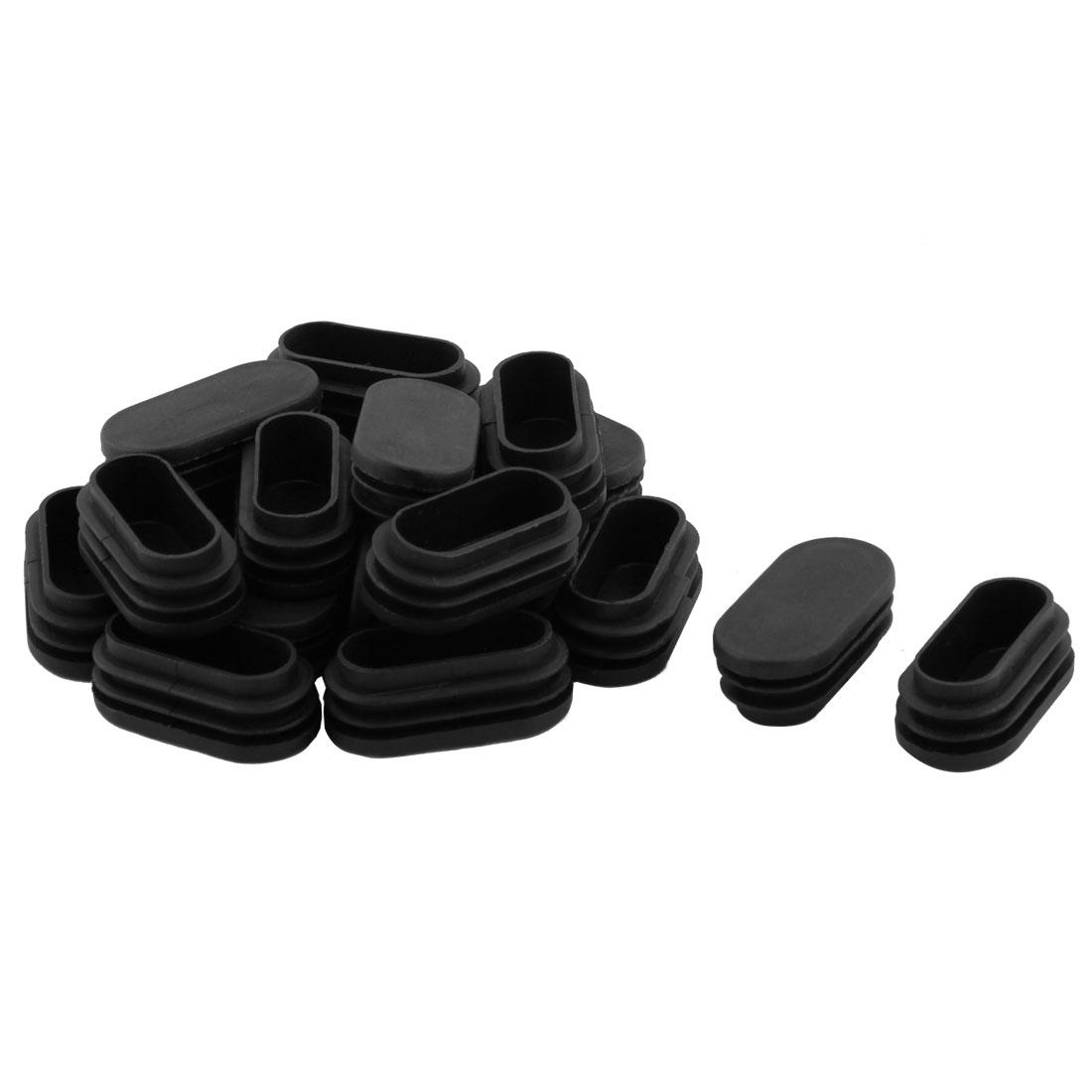 Household Plastic Rectangular Shaped Chair Leg Tube Pipe Insert Black 5 x 2.5cm 20 PCS