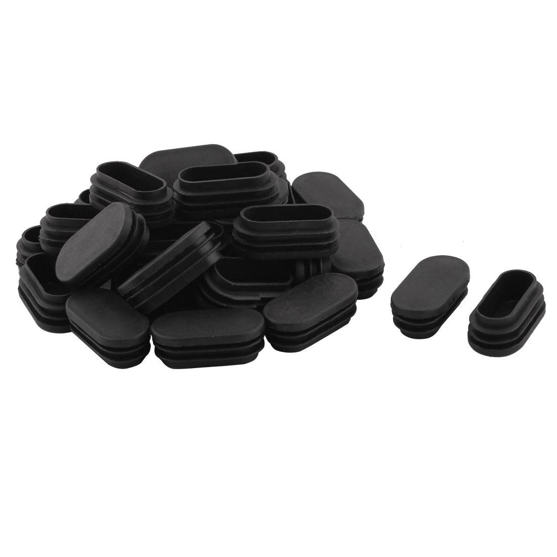 Household Plastic Rectangular Shaped Chair Leg Tube Pipe Insert Black 5 x 2.5cm 30 PCS