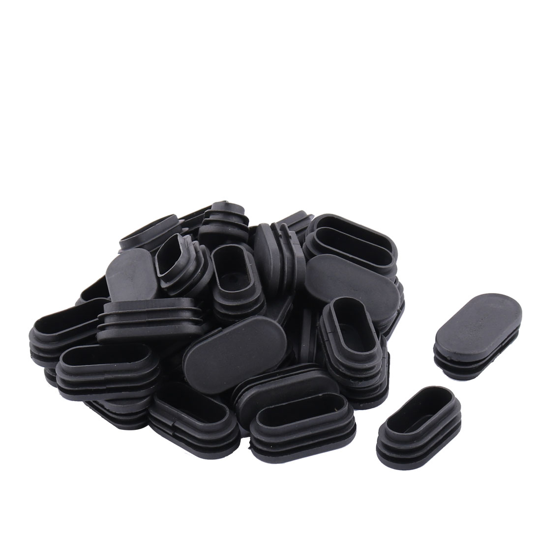 Family Office Plastic Oval Blanking End Cap Tube Insert Black 25mm x 50mm 40pcs