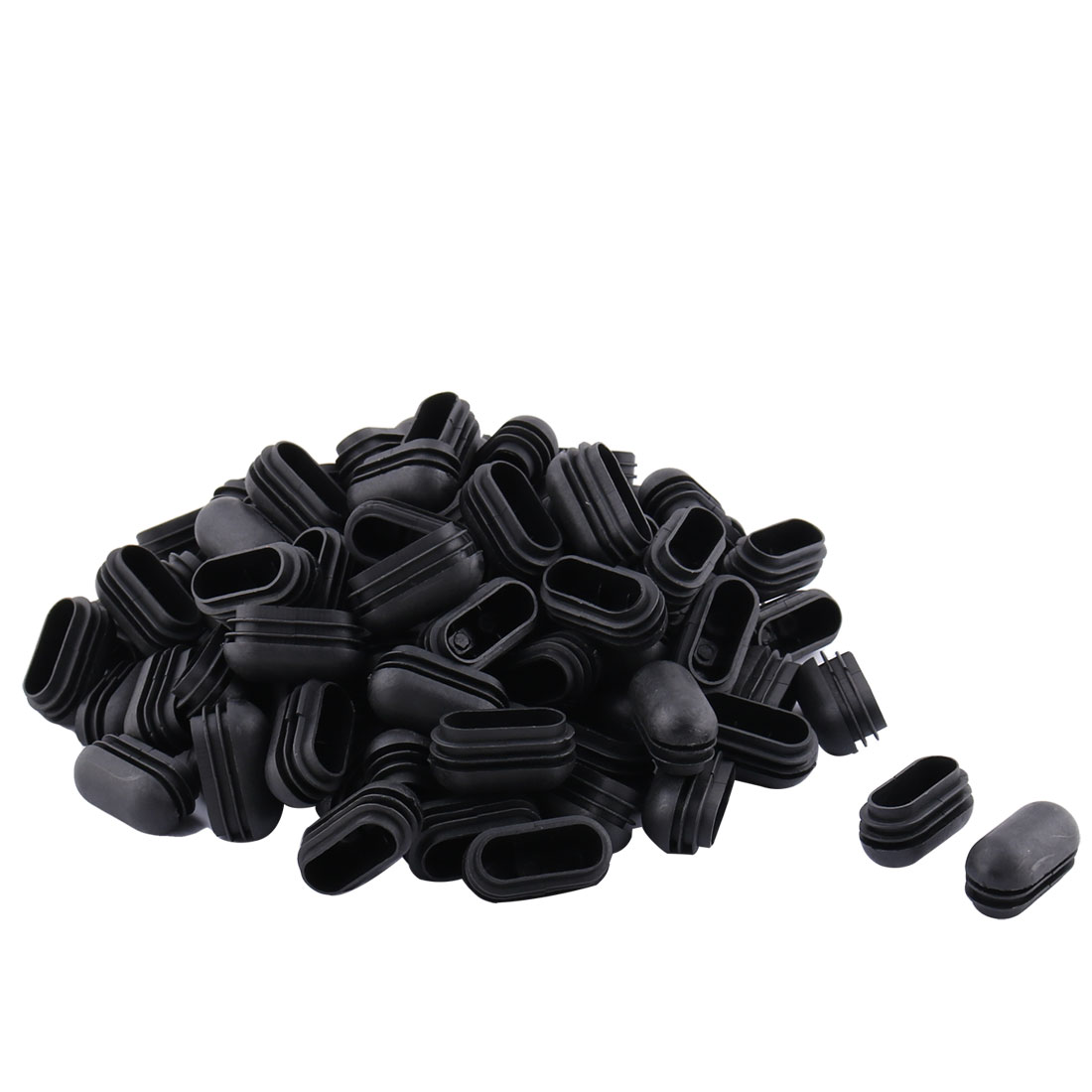 Home Plastic Oval Table Chair Leg Feet Tube Insert Cap Black 24mm x 49mm 100pcs