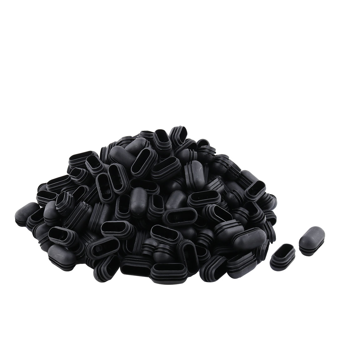 Furniture Plastic Oval Bench Feet Blanking Cap Tube Insert Black 24mm x 49mm 200pcs