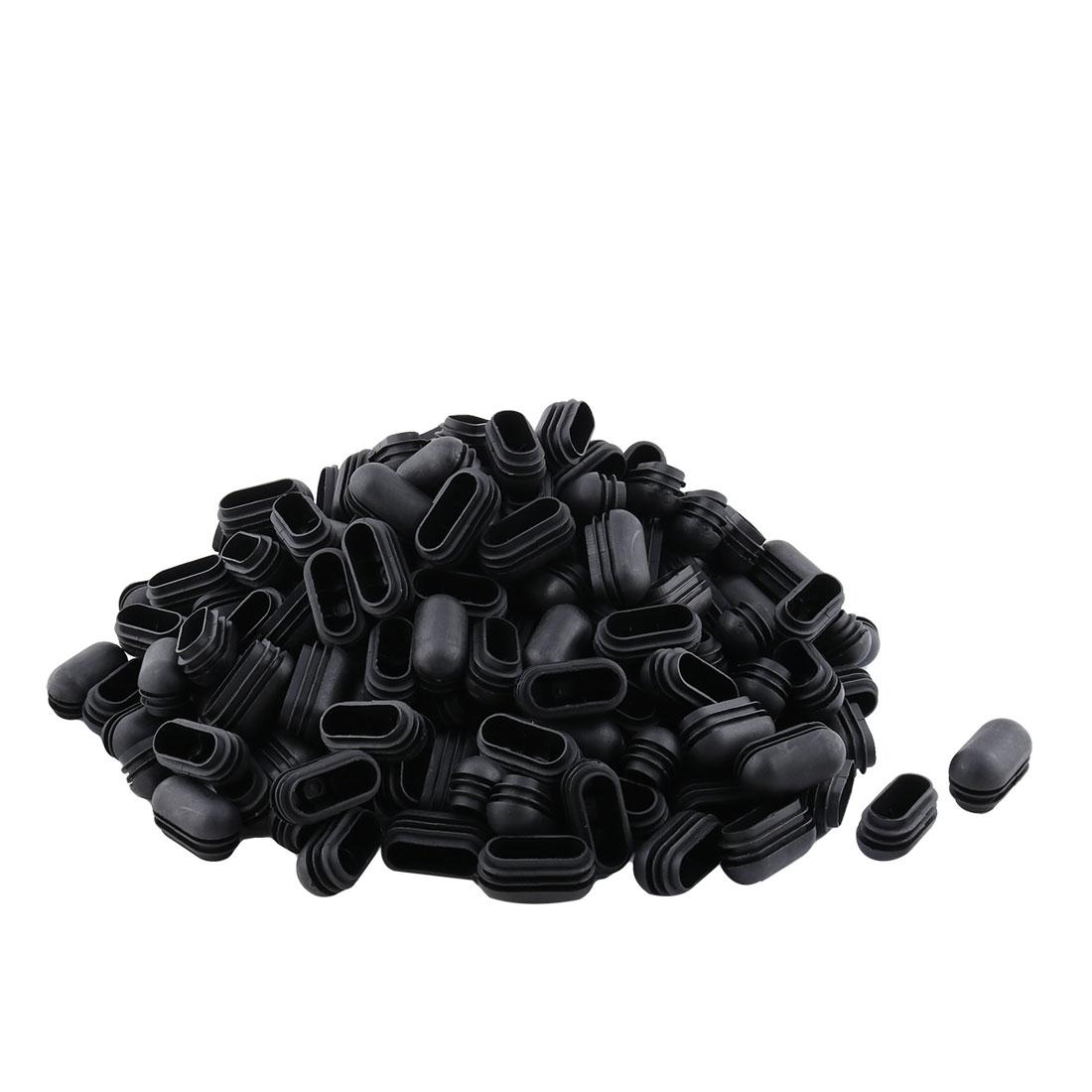 Furniture Plastic Oval Bench Feet Blanking Cap Tube Insert Black 24mm x 49mm 200pcs
