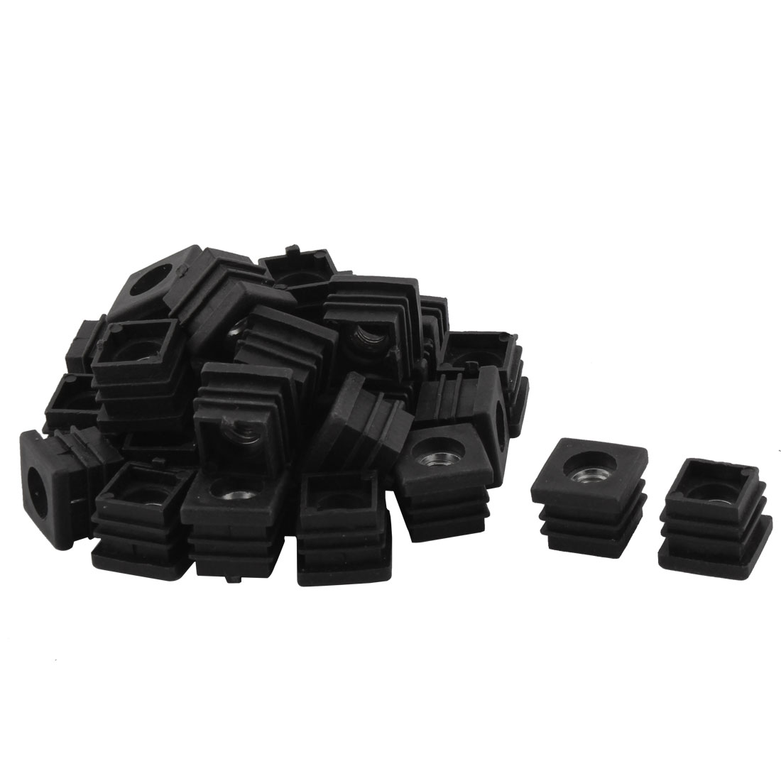 Household Plastic Square Shaped Chair Leg Tube Pipe Insert Black 2 x 2cm 30 PCS