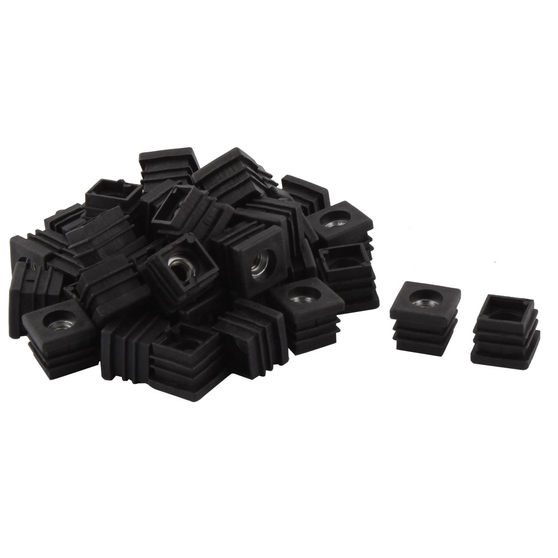 Household Plastic Square Shaped Chair Leg Tube Pipe Insert Black 2 x 2cm 40 PCS