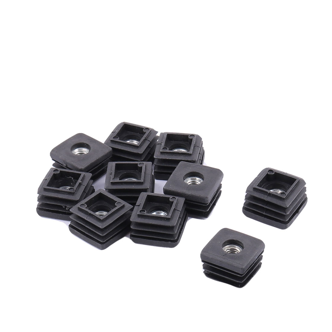 Furniture Table Chair Square Shaped End Cap Tube Insert Black 25mm x 25mm 10pcs