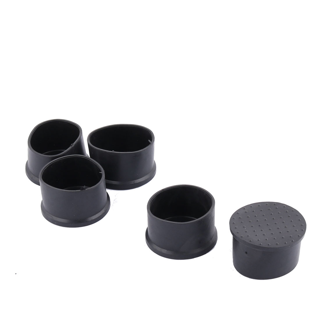Famliy Furniture PVC Round Design Desk Bench Leg Protector Tube Insert Black 5pcs