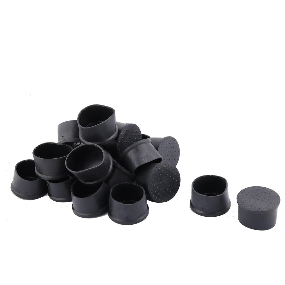 Home Furniture PVC Round Design Table Desk Tube Insert Cap Cover Black 20pcs