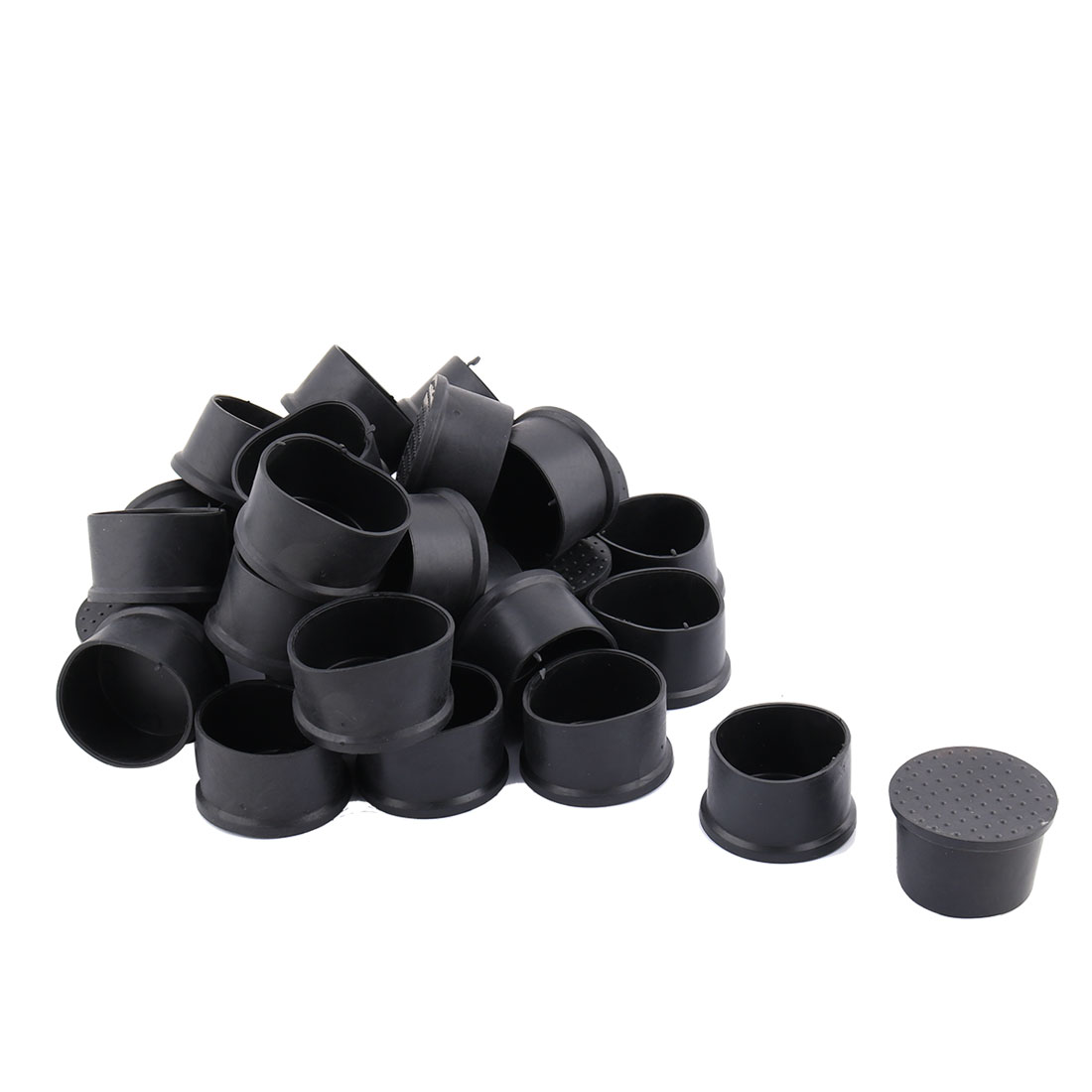 Family PVC Round Design Desk Chair Feet Tube Insert Cap Black 50mm Dia 30pcs