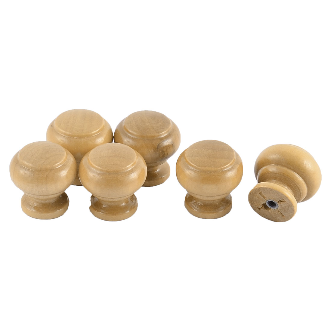 25mm Dia Round Head Drawer Cupboard Door Handle Grip Wooden Pull Knob 6pcs