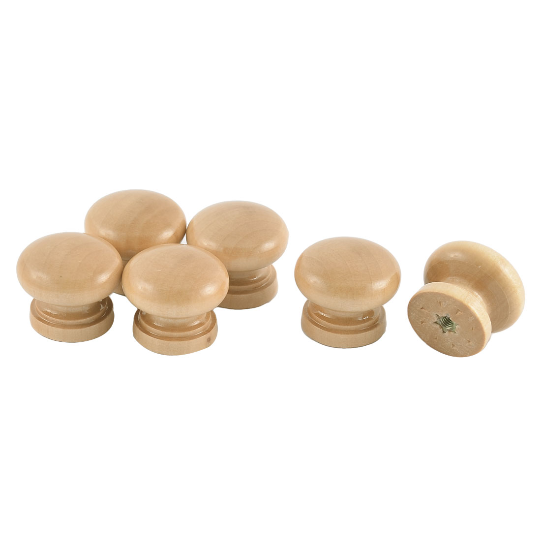 28mm Dia Drawer Cabinet Cupboard Gate Door Wooden Pull Knobs Handle Beige 6 Pcs