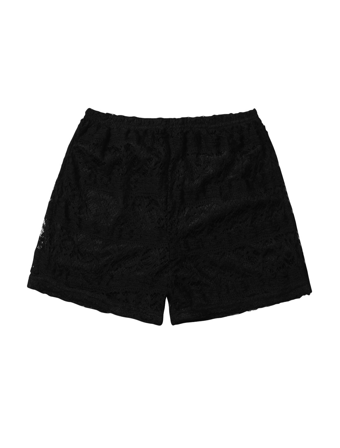 Women Lace Elastic Waist Stretchy Tiered Detail Shorts Black XS