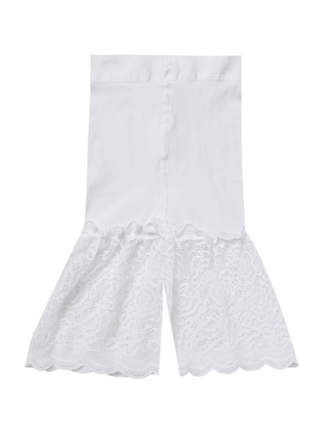Women High Waist Stretchy Lace Panel Semi Sheer Hem Shorts White XS