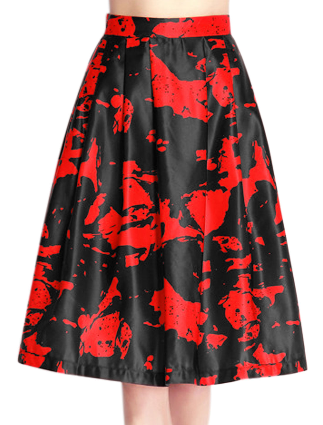Women High Waist Novelty Prints Pleated Midi Full Skirt Red S