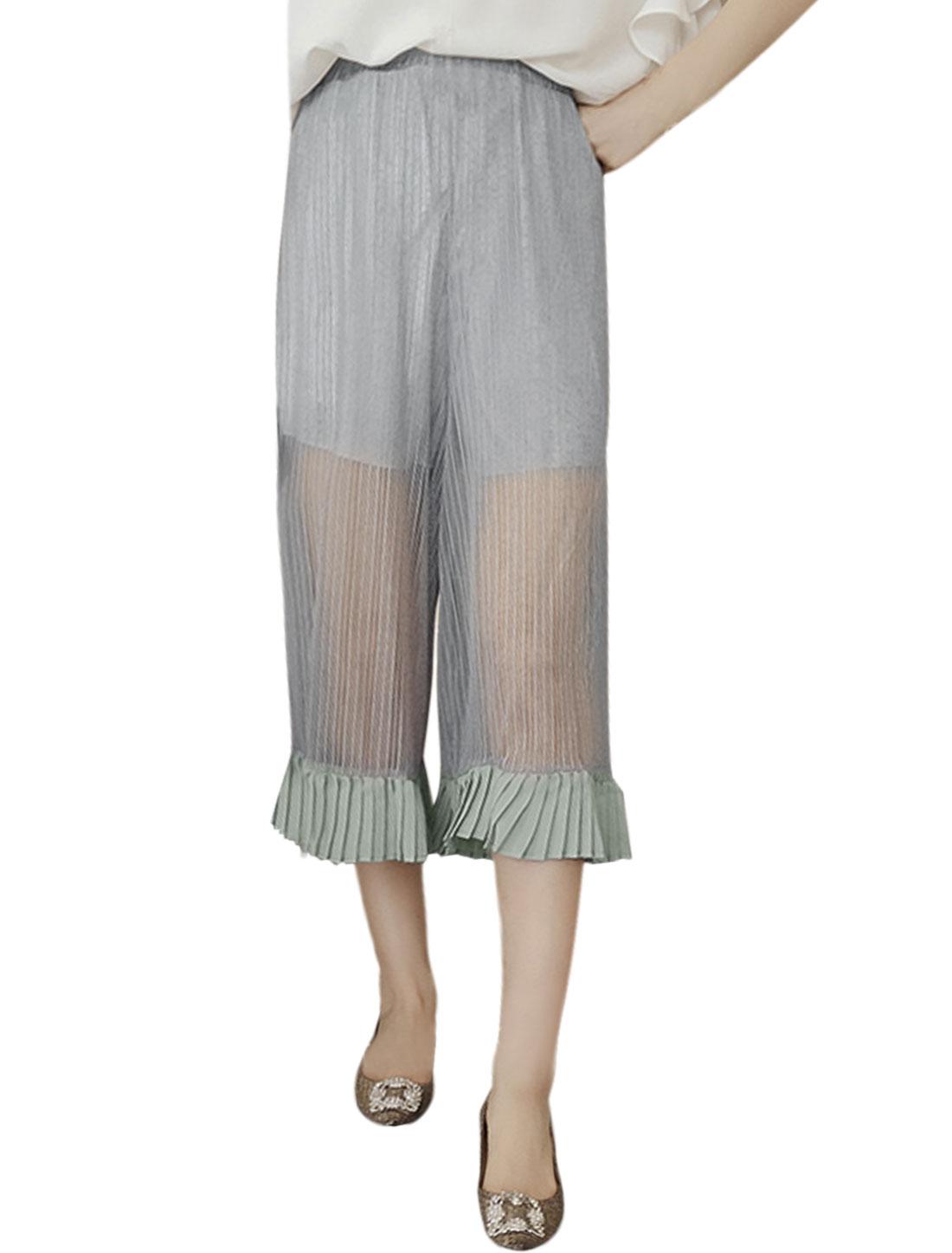 Women Flounce Cuffs Pleated Semi Sheer Capris Wide Leg Pants Gray XS