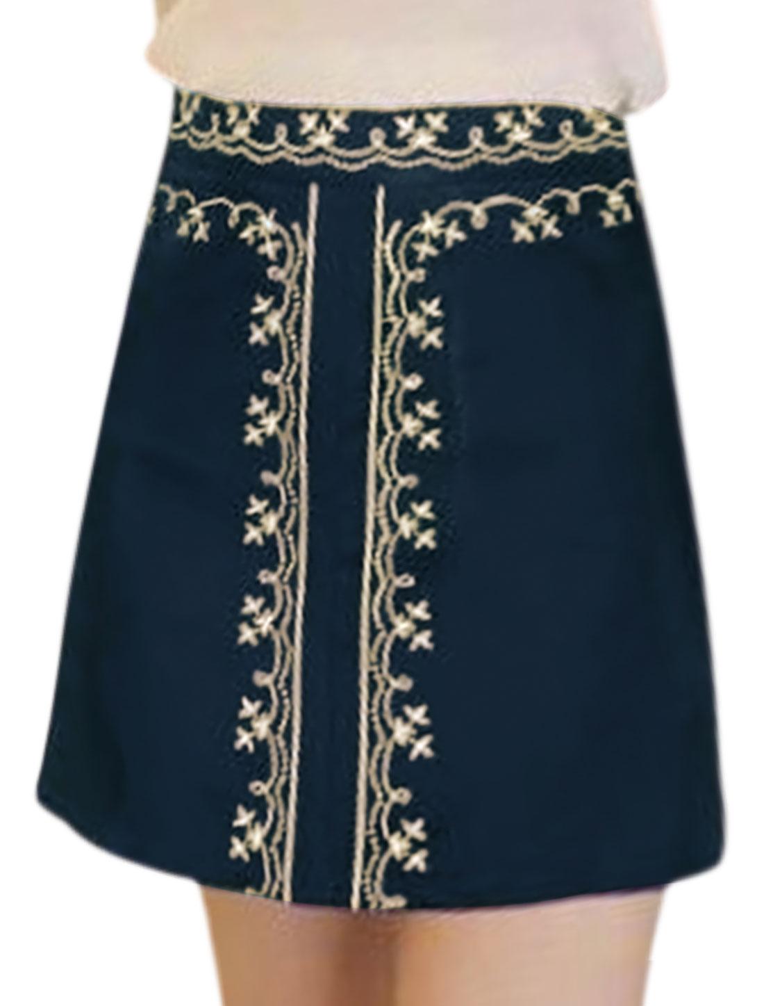 Women High Waist Floral Embroidered Mini A Line Skirt Blue S
