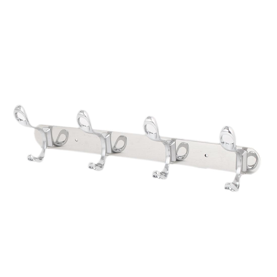 Coat Clothes Metal Rail Bar 4 Double Hook Wall Hanger Sliver Tone 355 x 40 x 2mm