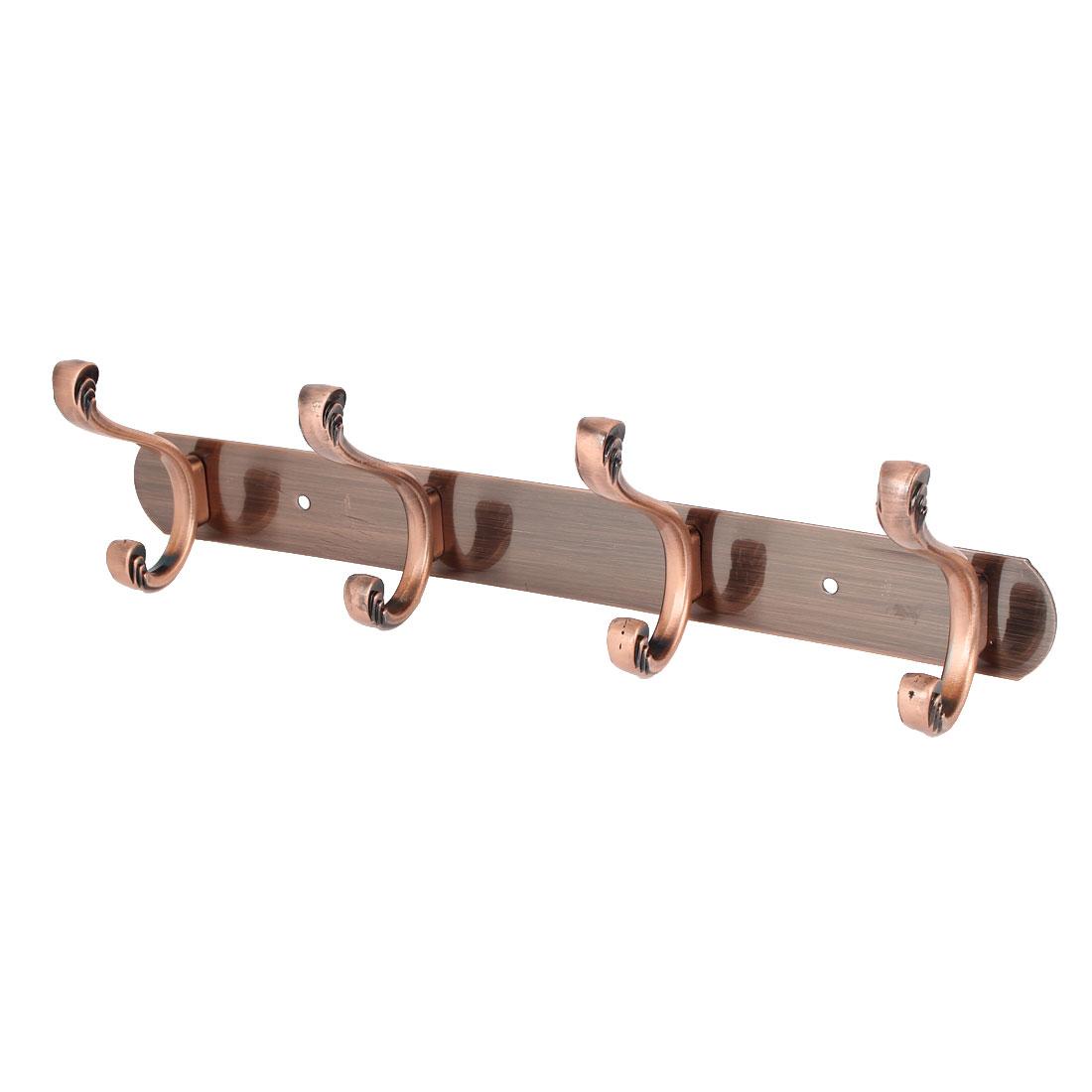 Clothes Towel Hanging Metal Rail Bar 4 Double Hook Wall Hanger Copper Tone 350x40x2mm