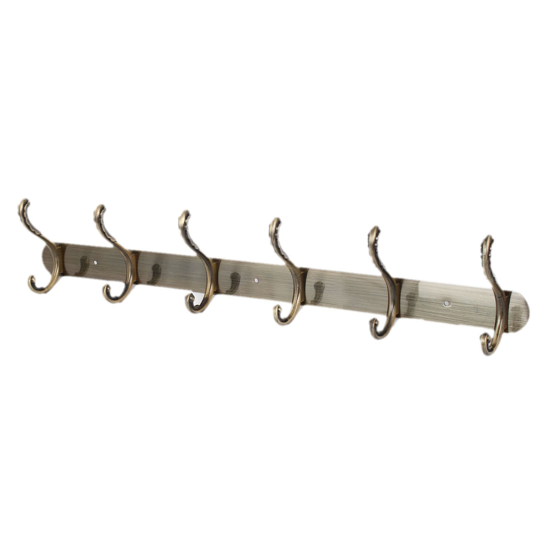 Coat Towel Metal Rail Bar 6 Double Hook Wall Hanger Bronze Tone 550 x 40 x 2mm