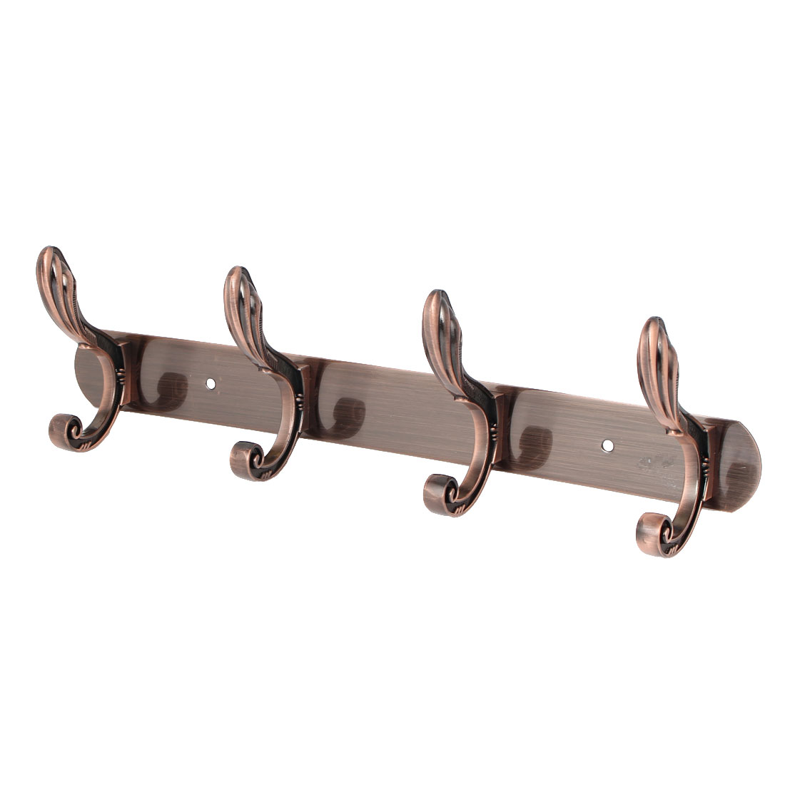 Bedroom Coat Hanging Metal Rail Bar 4 Double Hook Wall Hanger Copper Tone 350x40x2mm