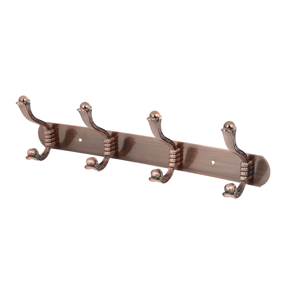 Bedroom Clothes Hanging Metal Rail Bar 4 Double Hook Wall Hanger Copper Tone 350x40x2mm