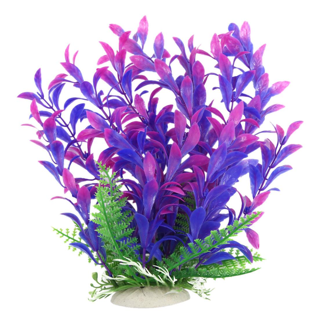 Aquarium Tank Aquatic Plastic Plant Grass Landscape Decoration Purple 22cm