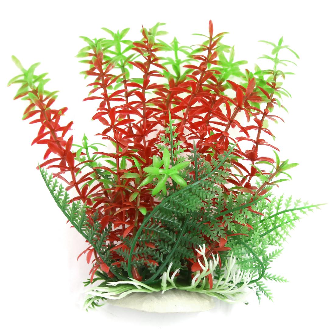 Aqua Landscape Fish Tank Decoration Red Green Plastic Plant for Betta 17cm