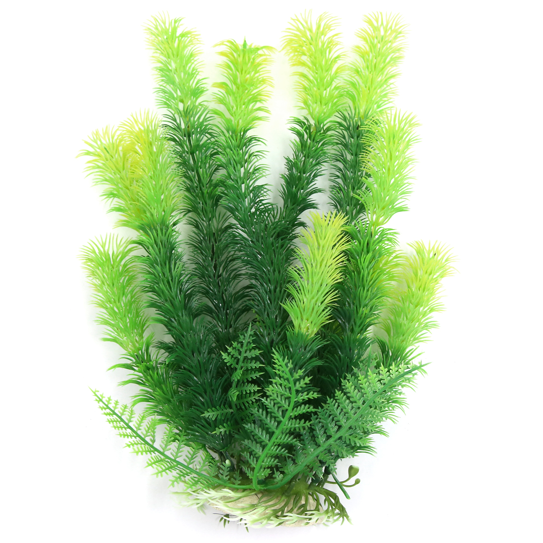 Aqua Landscape Fish Decoration Green Yellow Plastic Plant 27cm