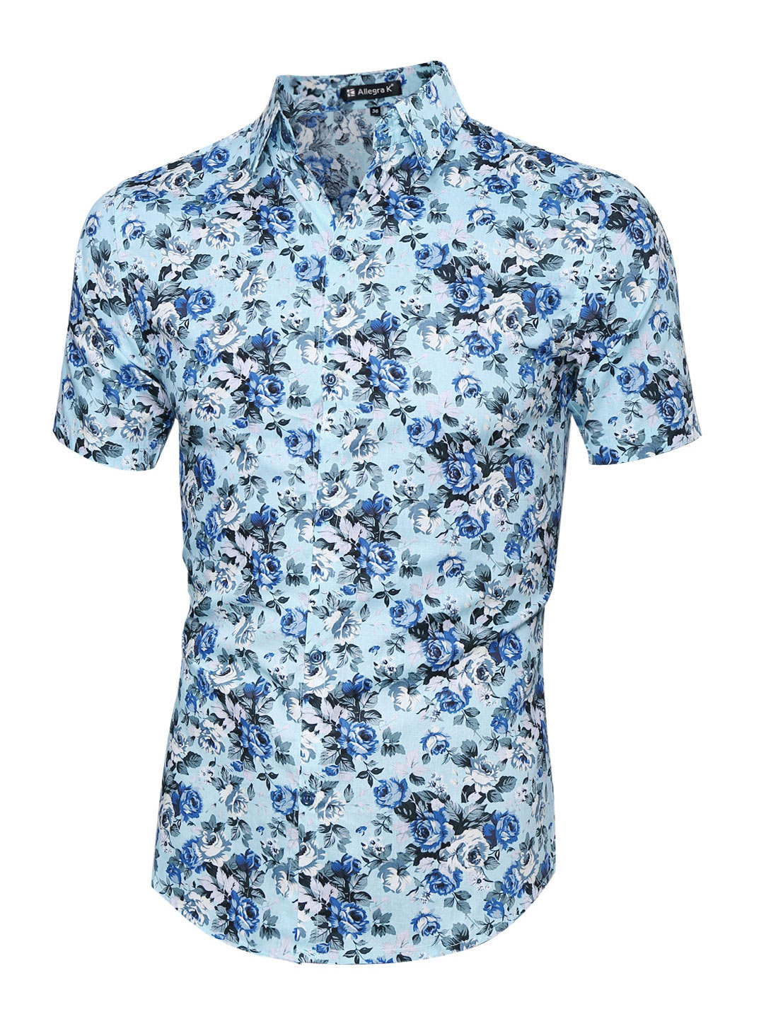 Men Short Sleeve Single Breasted Floral Prints Shirts Light Blue XL