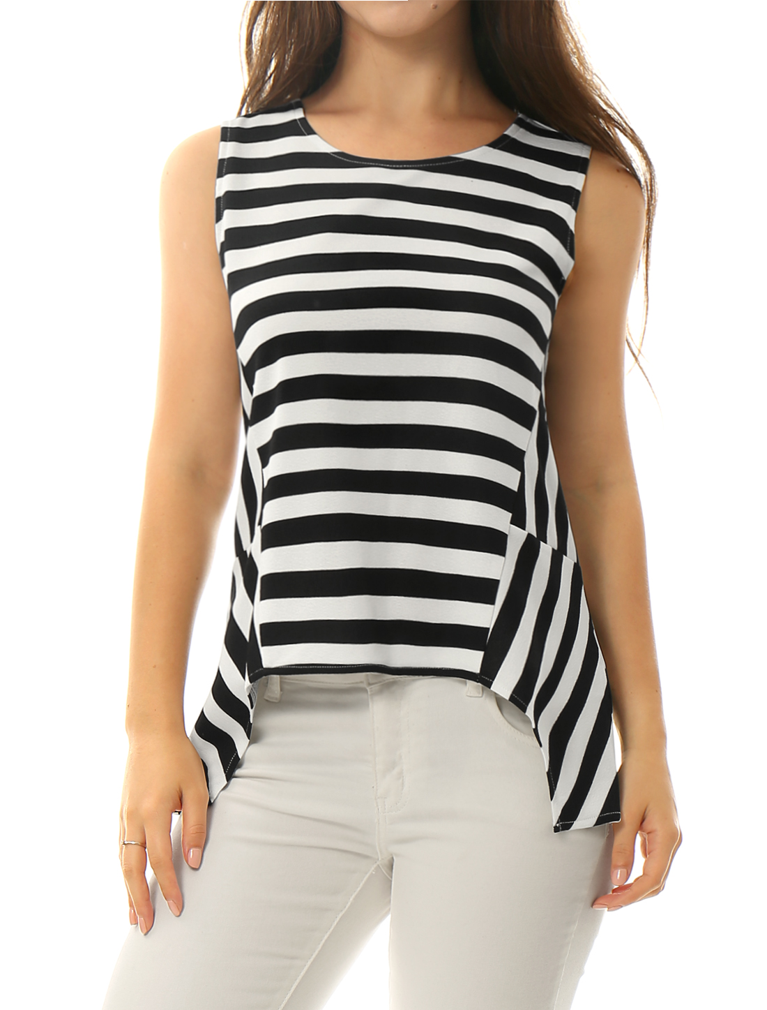 Women Stripes Asymmetric Hem Round Neck Tunic Tank White Black XS
