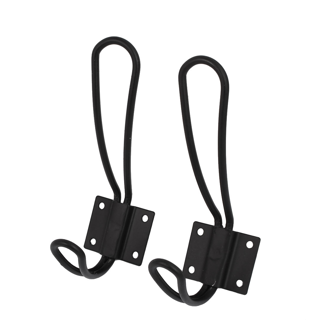 Clothes Towels Display Wall Mounted Hanger Hook Bracket Black 2pcs