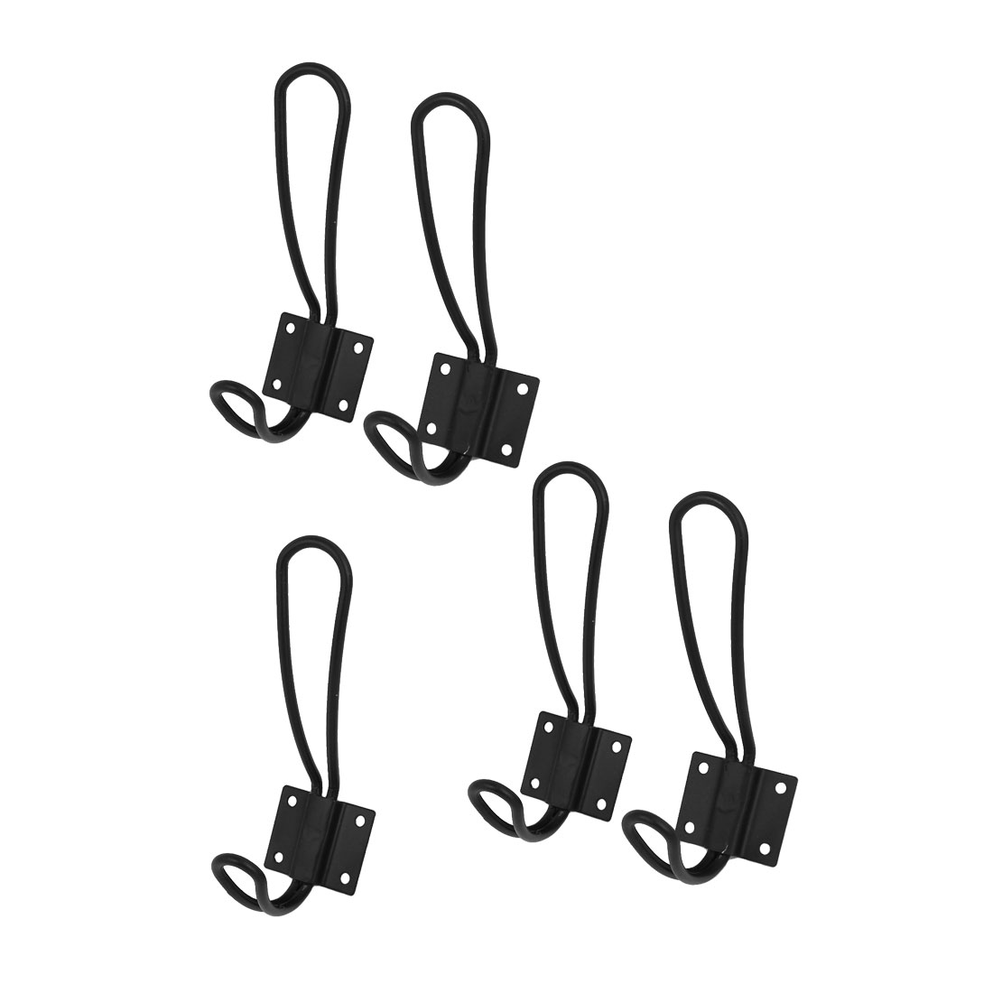 Hat Coat Towels Display Wall Mounted Hanger Hook Bracket Black 5pcs