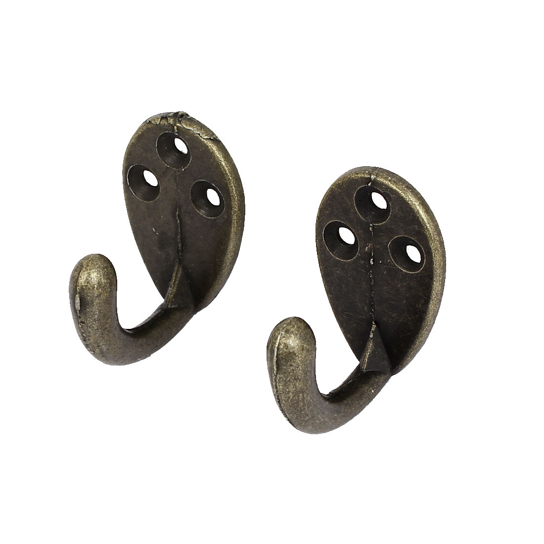 Bedroom Door Wall Mounted Alloy Vintage Style Single Hanger Hook Bronze Tone 2pcs