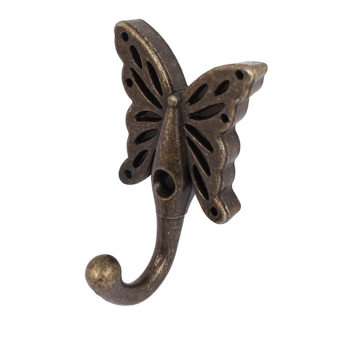 Hallway Bathroom Clothes Hat Butterfly Shape Wall Hanger Hook Bronze Tone