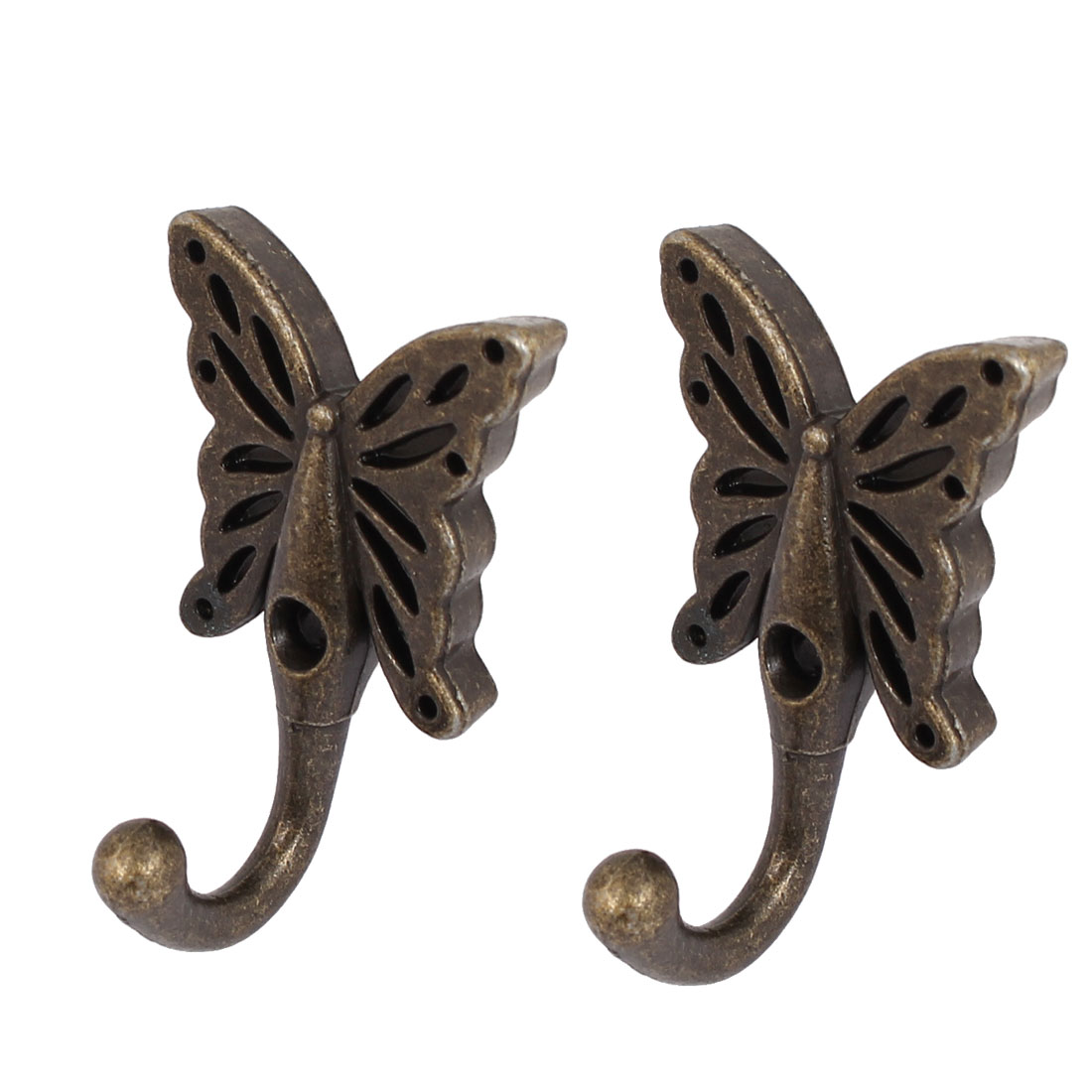 Robe Clothes Hat Butterfly Key Coat Hooks Wall Hanger 2pcs