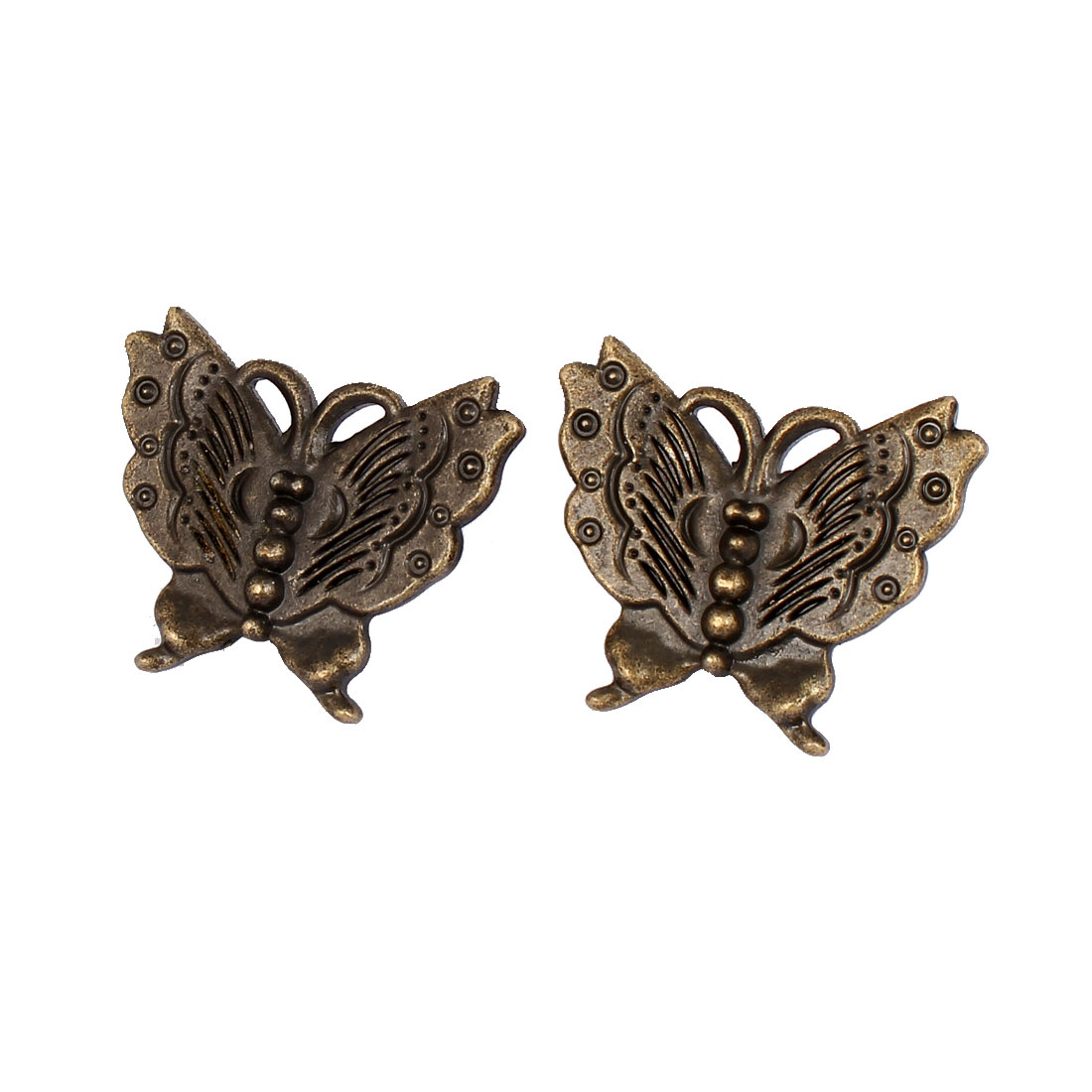 Cupboard Door Drawer Metal Retro Style Butterfly Shape Pull Handle Bronze Tone 2pcs