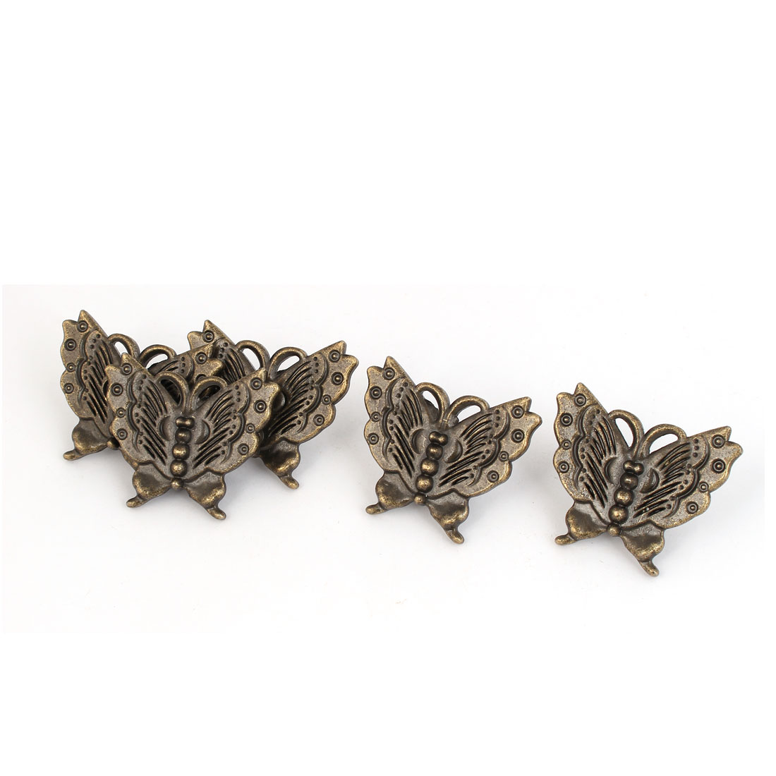Cupboard Drawer Dresser Butterfly Shape Pull Handle Grip Bronze Tone 5pcs
