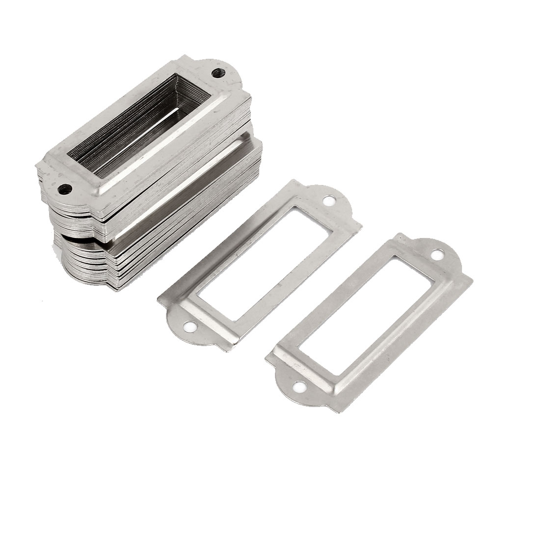 Metal Frame Drawer Box Case Cabinet Card Tag Label Holders Silver Tone 50pcs