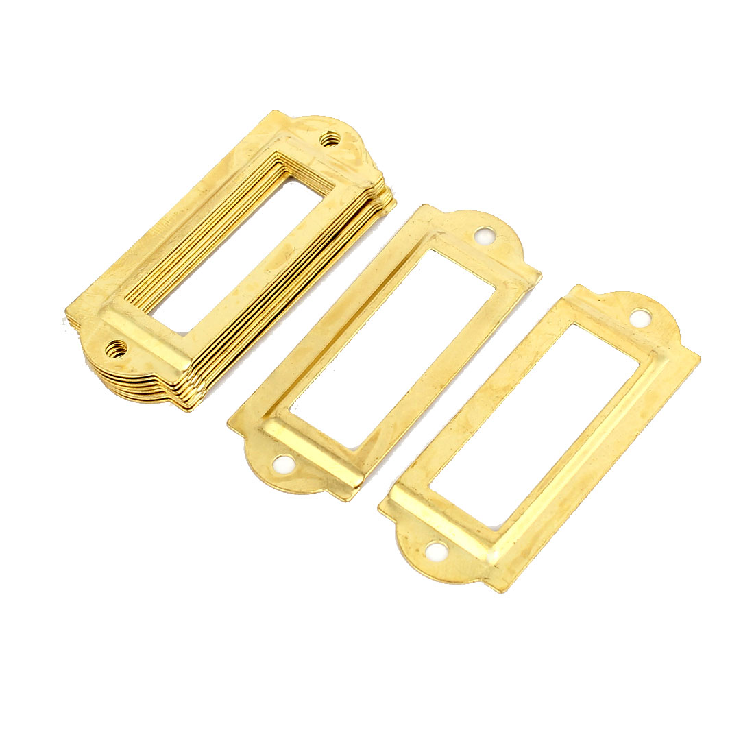 Post Office File Drawer Label Tag Name Card Holder Gold Tone 10pcs