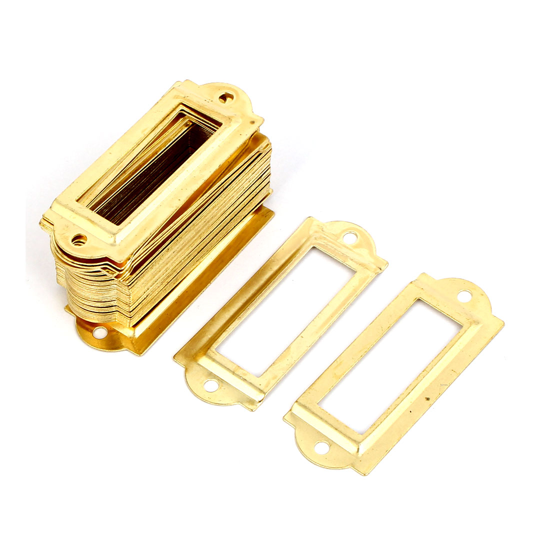 Post Office File Drawer Label Tag Name Card Holder Gold Tone 50pcs