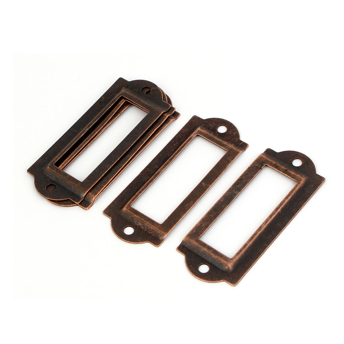 File Drawer Label Tag Name Card Holder Copper Tone 5pcs
