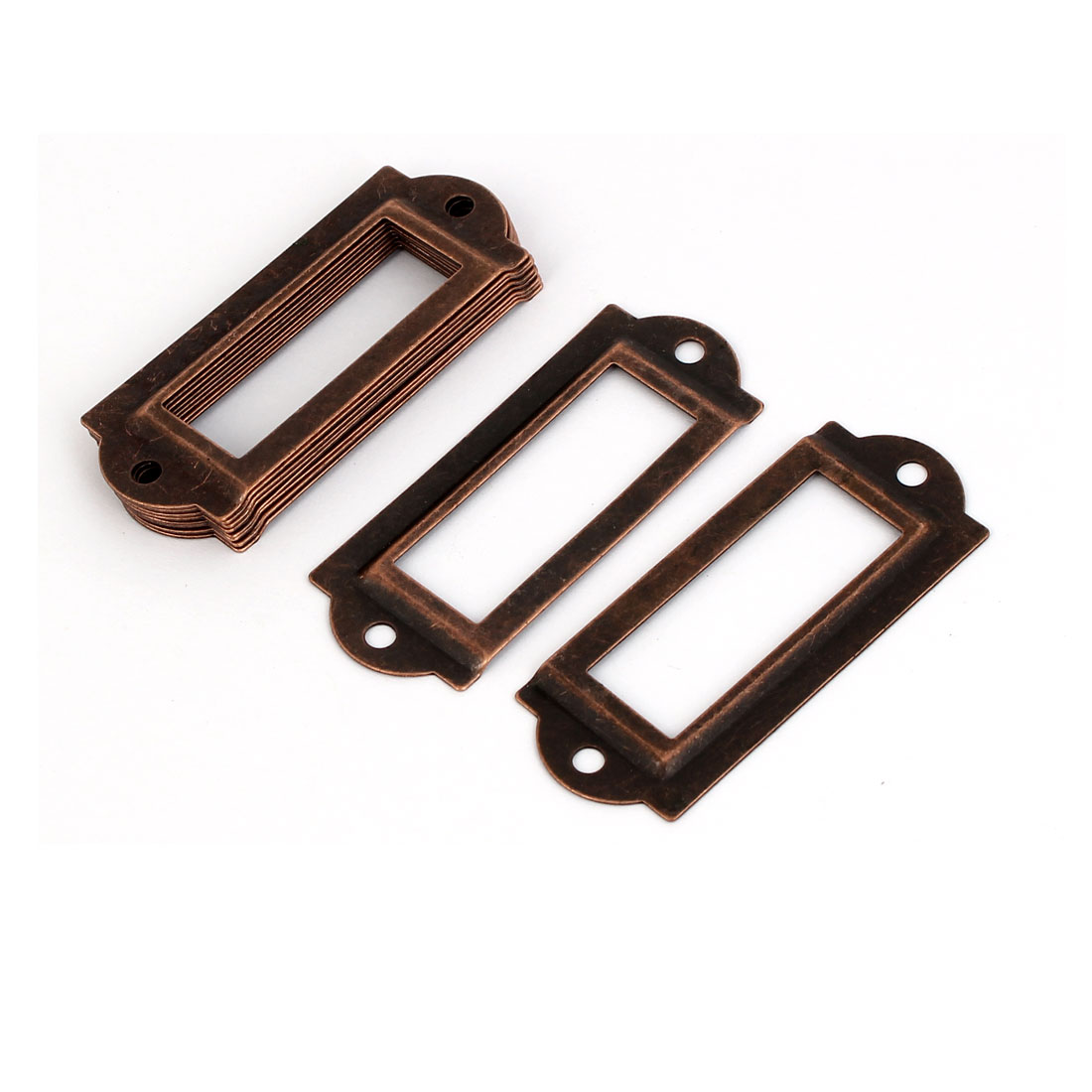 File Drawer Label Tag Name Card Holder Copper Tone 10pcs