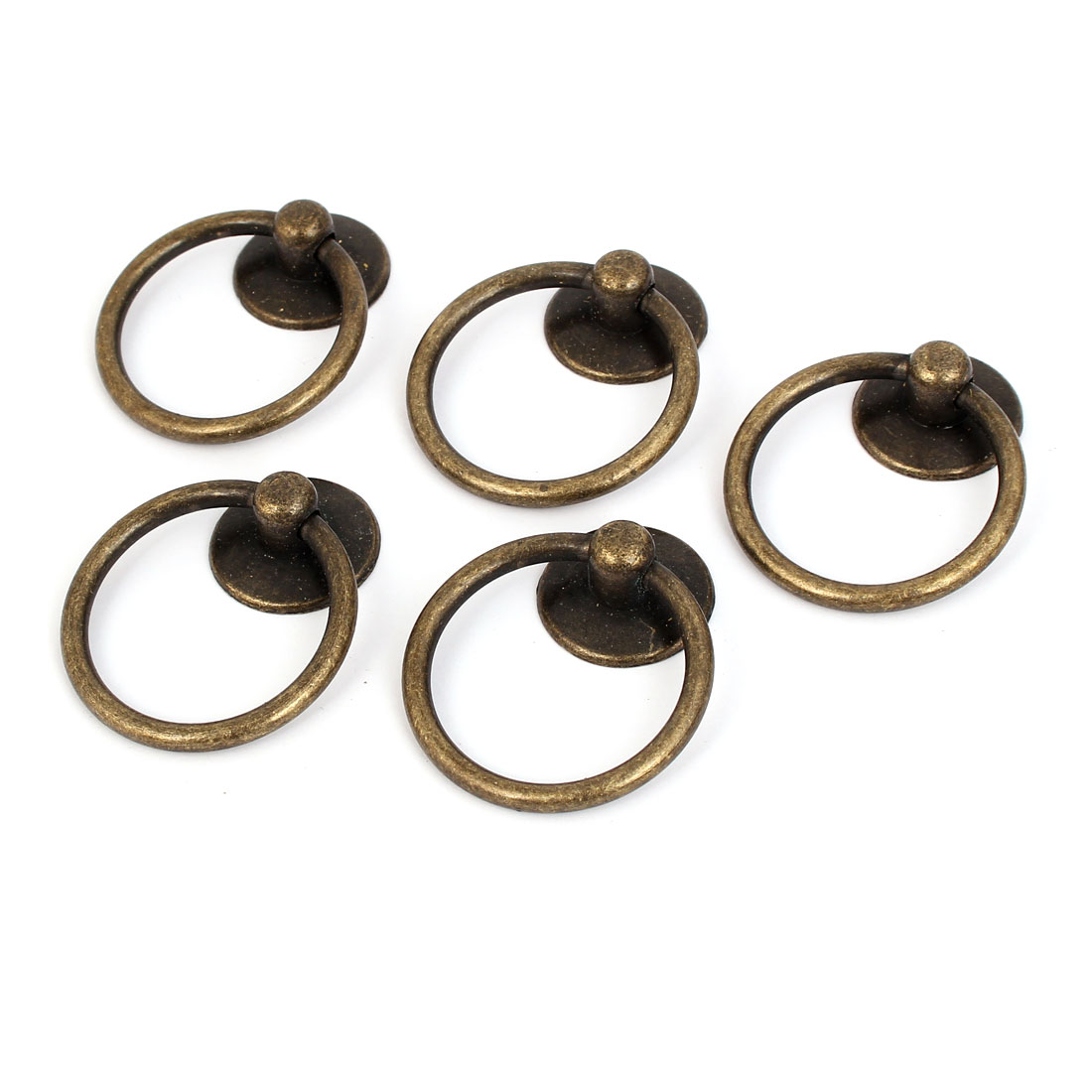 Cupboard Cabinet Drawer Dresser Rings Pulls Knob Bronze Tone 5pcs