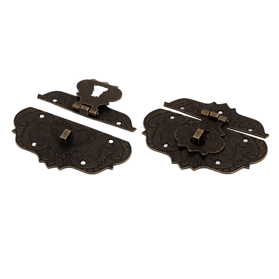 2 Pcs Cabinet Suitcase Antique Style Metal Box Latch Hasp Bronze Tone