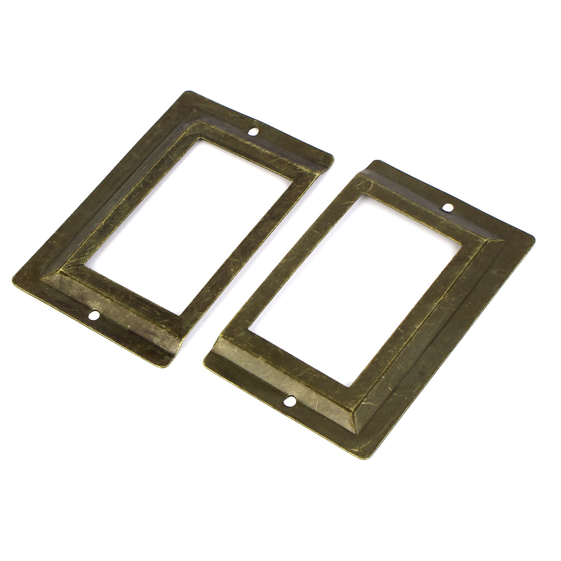 Post Office Library File Drawer Metal Tag Label Holder Bronze Tone 2pcs