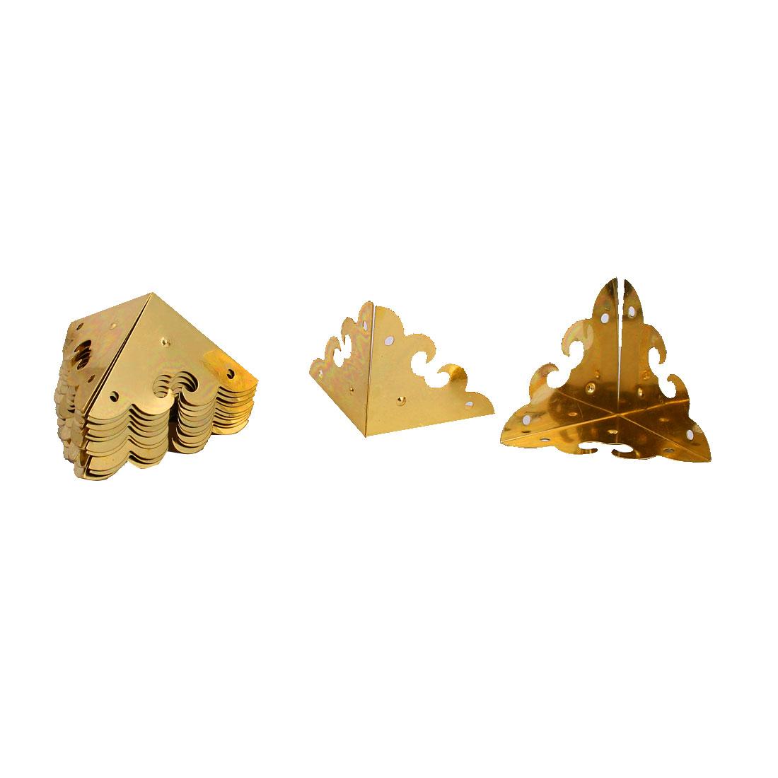 Desk Edge Case Box Metal Corner Protectors Cover Guards Gold Tone 12 Pcs