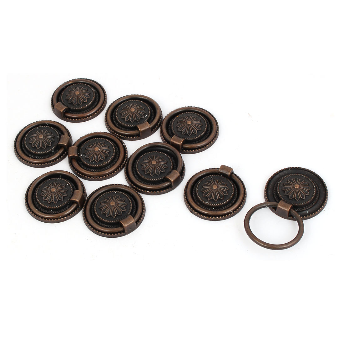 Cabinet Cupboard Drawer Round Drop Ring Pull Knob Grip 10pcs