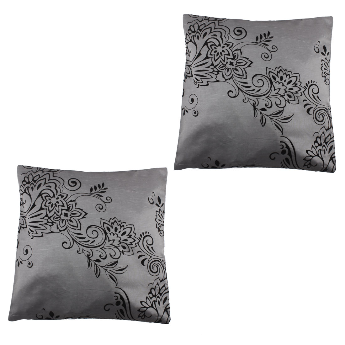 Fabric Single Side Floral Pattern Car Seat Waist Cushion Pillow Cover 43 x 43cm 2pcs