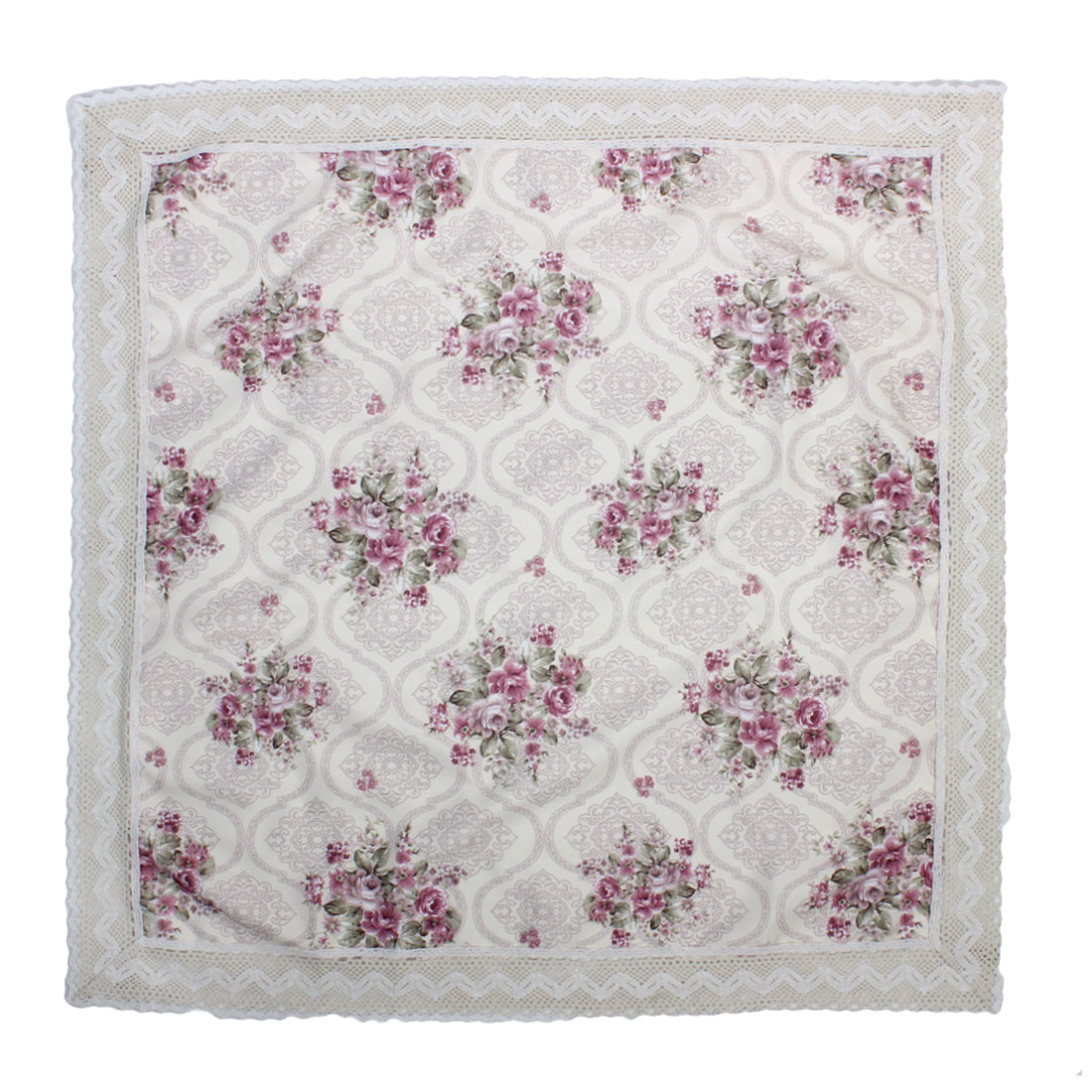 Wedding Party Decor Flower Pattern Square Shaped Crochet Tablecloth 80 x 80cm