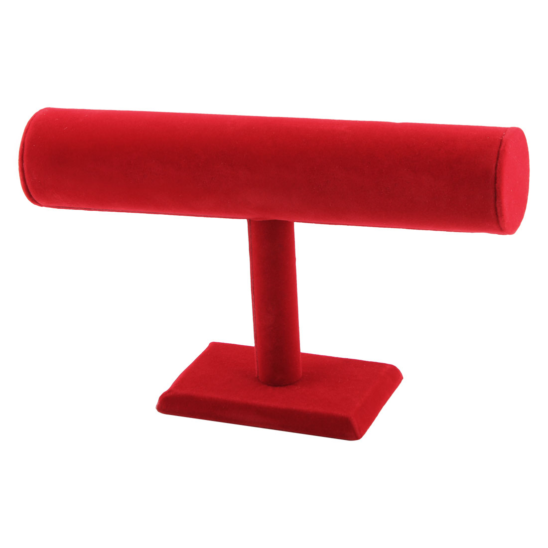 Velvet T-Bar Display Necklace Jewelry Watch Bangle Bracelet Organizer Stand Holder Red